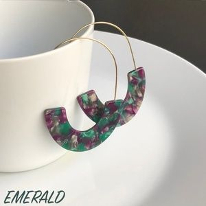 """Jewelry - NEW """"Camellia"""" U Acrylic Earrings (emerald)"""